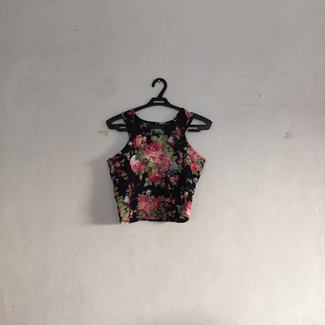 Floral halter crop top
