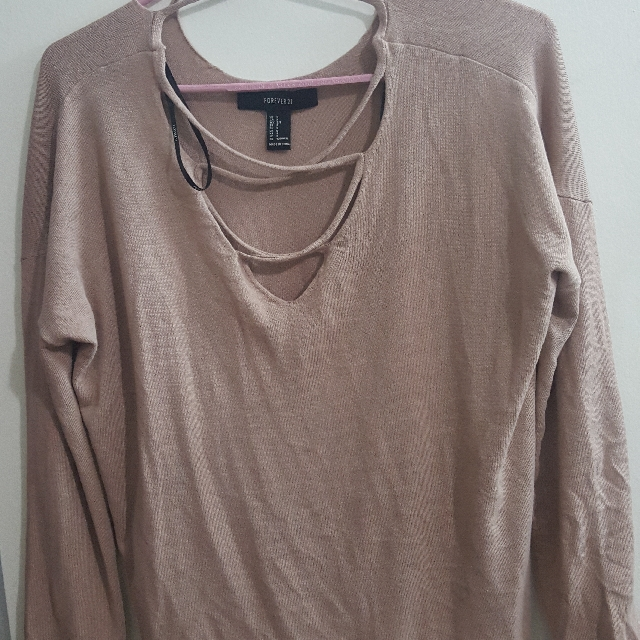 forever21 nude/beige front lace up top