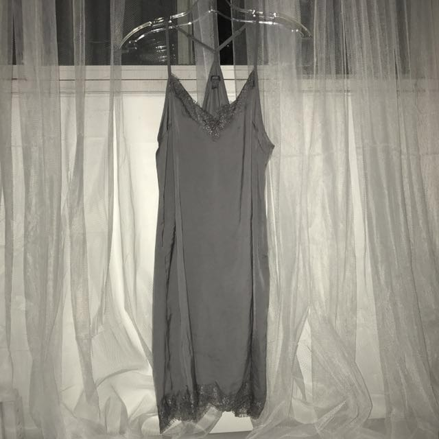 Grey Silk/satin lace slip dress