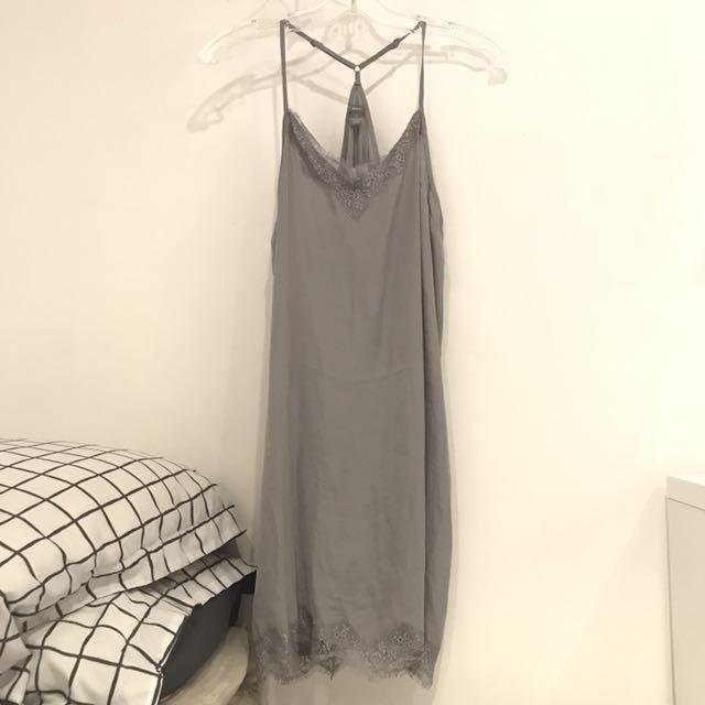 Grey Silk/satin lace slip dress