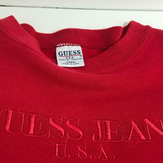 buying now latest style of 2019 classic style of 2019 GUESS JEANS USA SWEATER IN RED, Men's Fashion, Clothes on ...