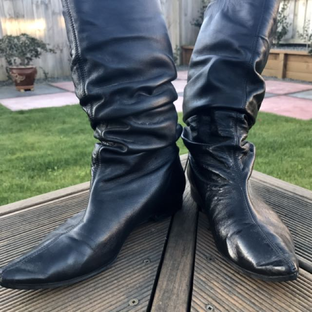 Isabella Anselmi Black Leather Boots Size 37