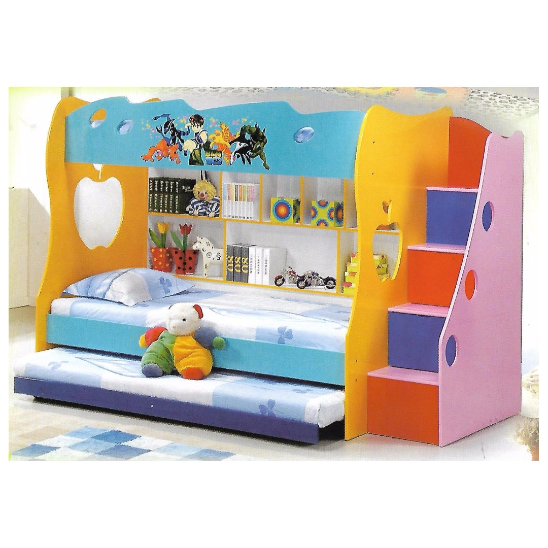 kid s double decker bed pullout bed book shelf furniture beds rh sg carousell com