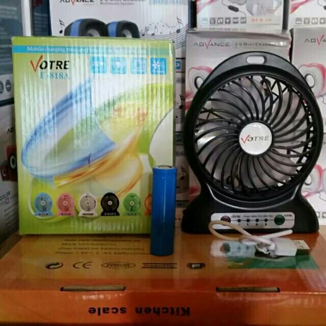 Twelven Kipas Angin Power Bank / Portable Mini Fan 3 Speed + Kabel Charger - Pink