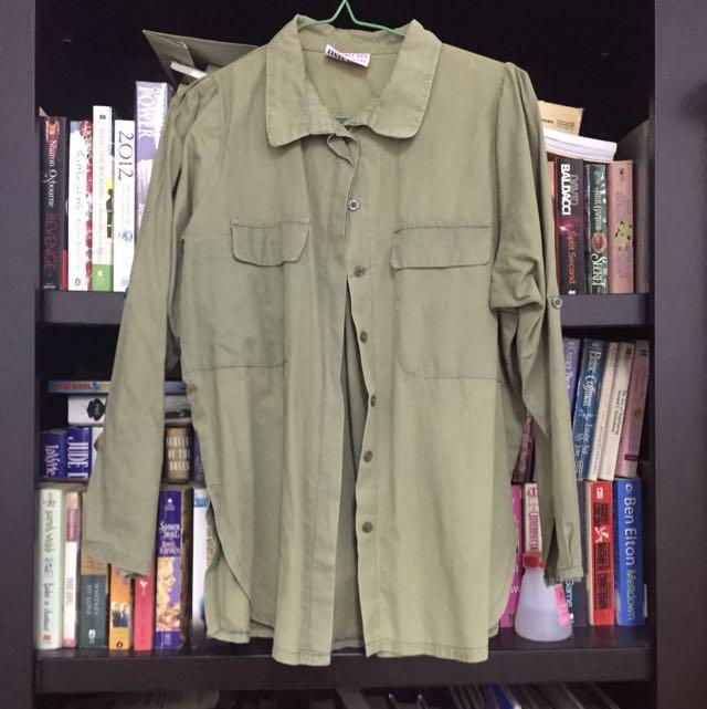 ♥️Korean Army Green Button Up