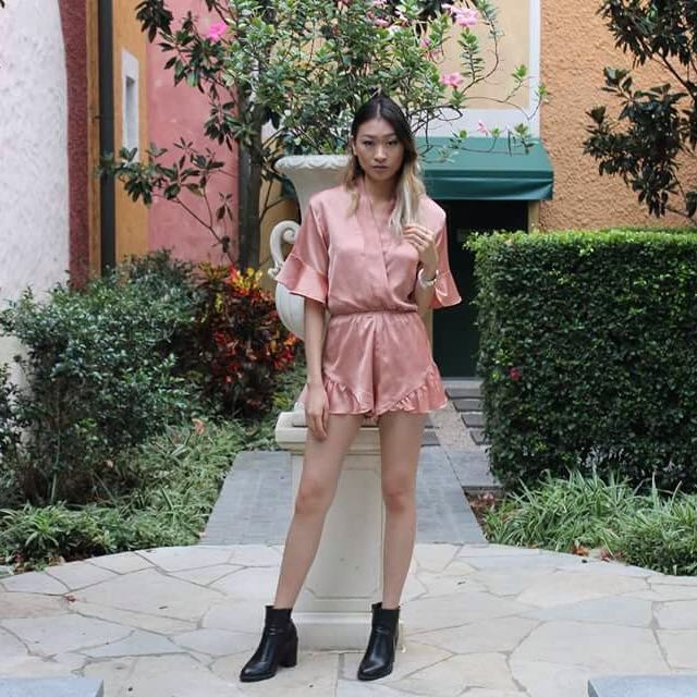 Lioness Boutique Satin Blush Playsuit