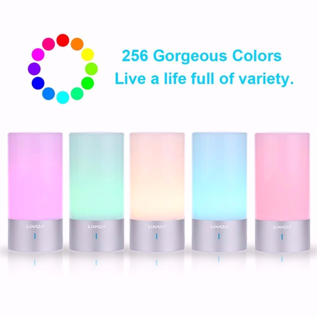 Lixada Bedside Lamp with 360° Touch Sensor, Dimmable Warm White LED Table  Lamp 256 Colors Changing RGB Mood Night Light