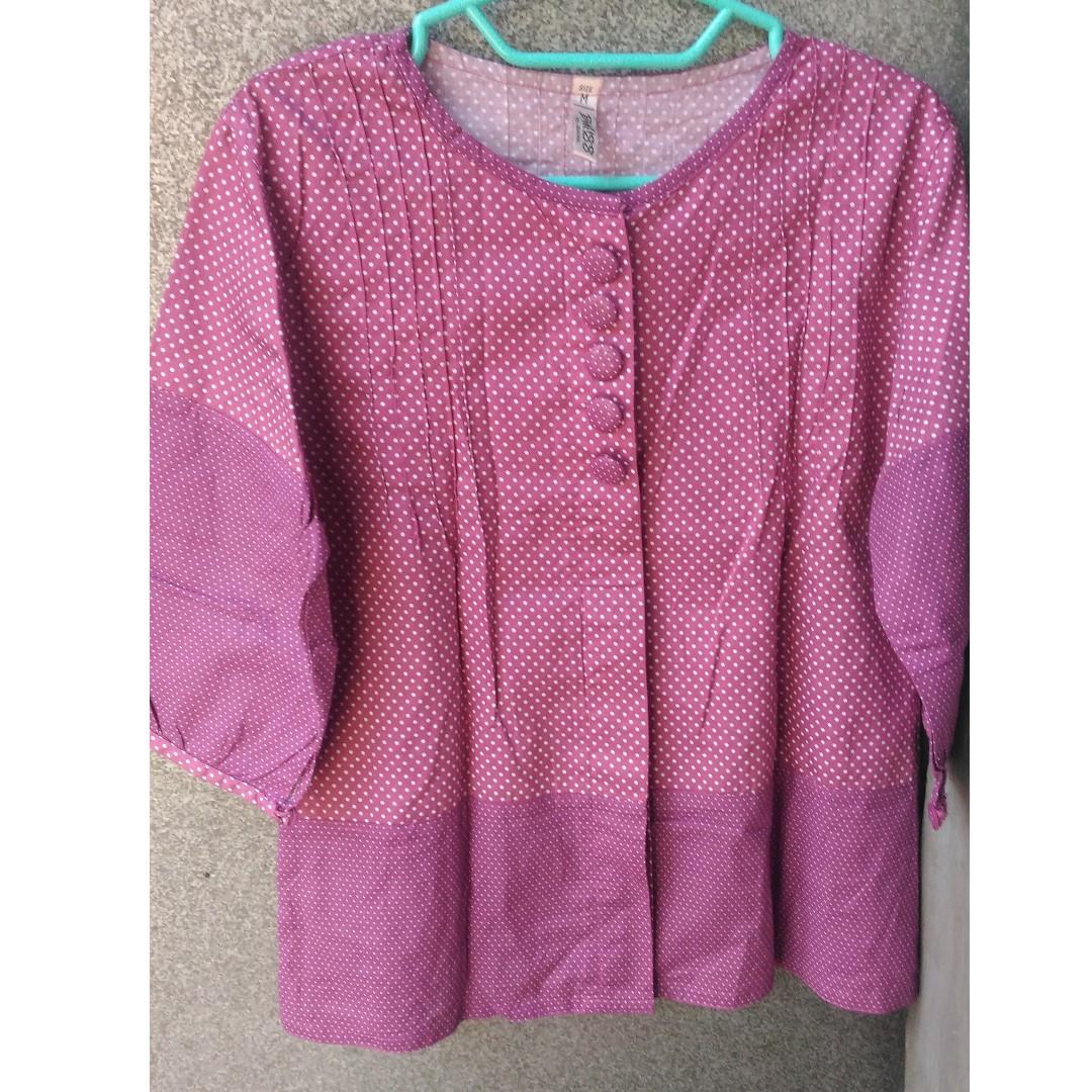 Magenta polka blouse