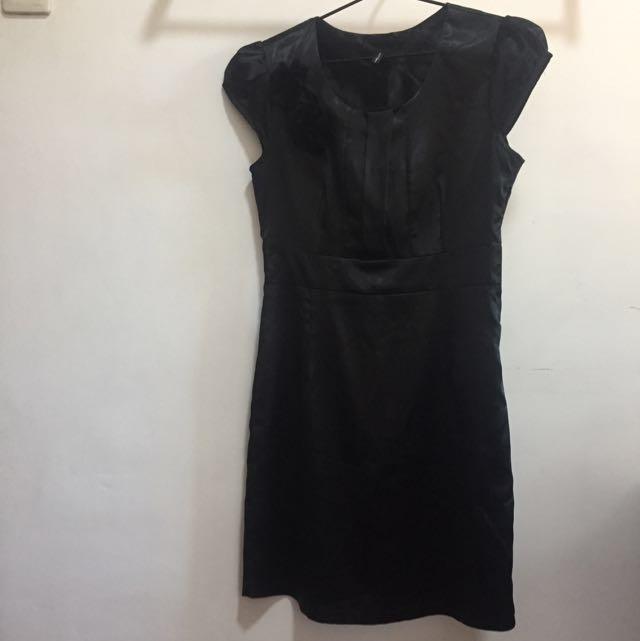 Nafnaf Black Satin Dress