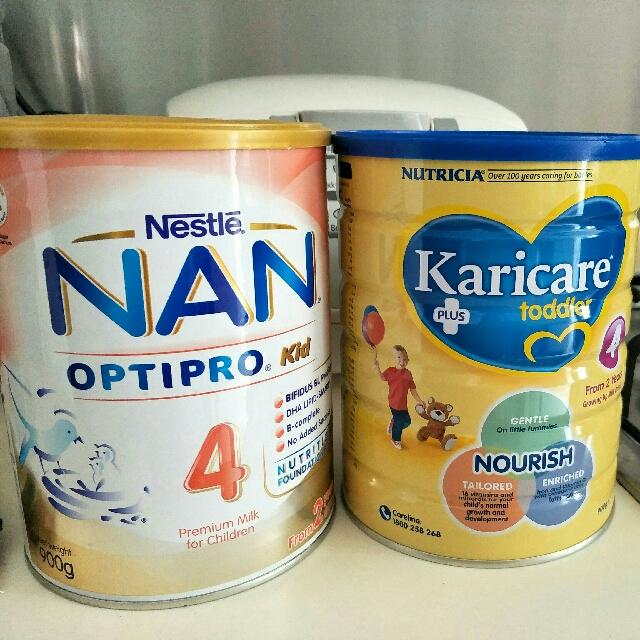 Nan milk powder options and Kari care milk powder
