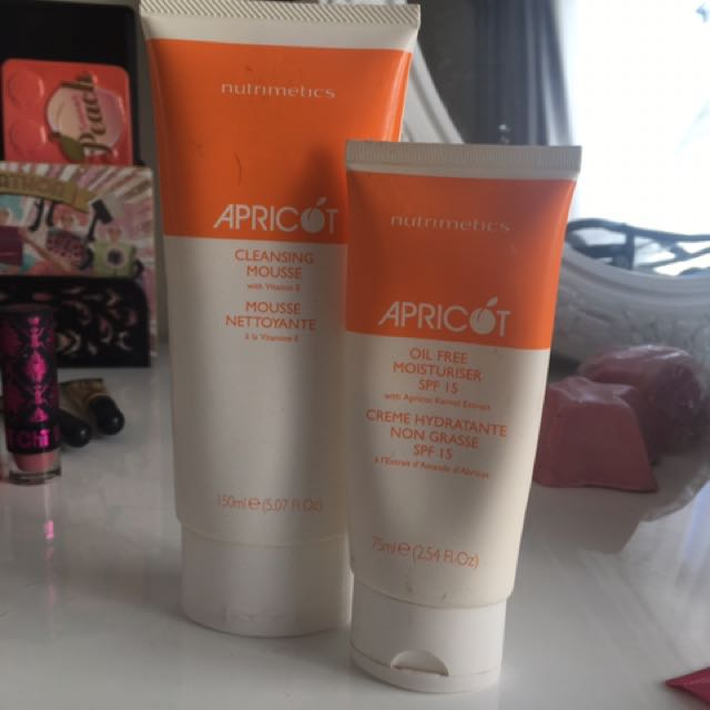 Neutimetics apricot cleaning mousse, and oil free SPF 15 moisturiser