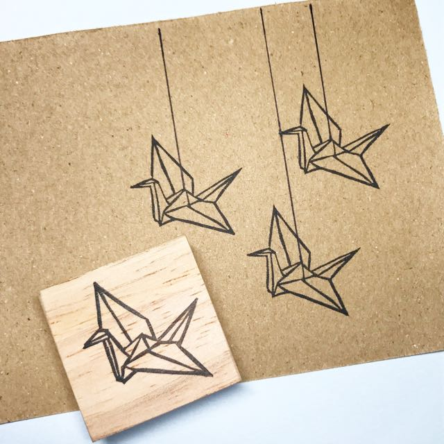 Origami Crane Rubber Stamp Design Craft Supplies Tools