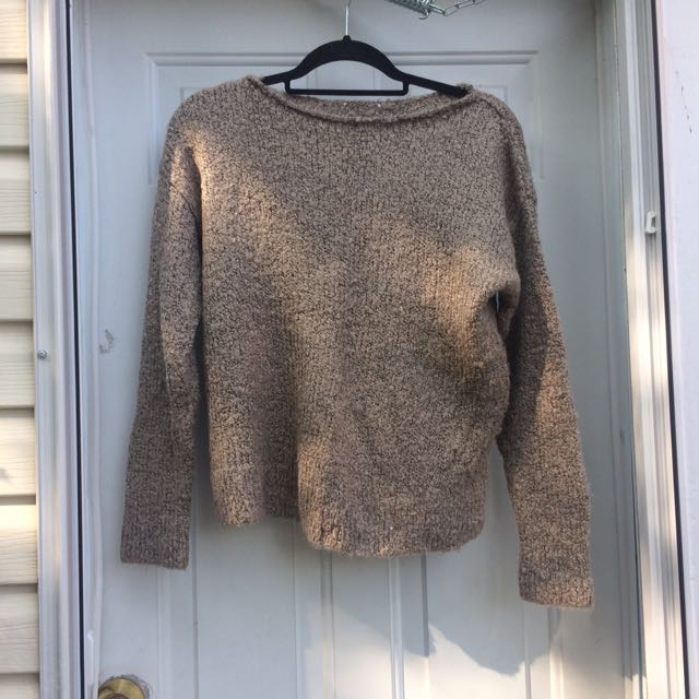 O/S Knit Sweater Light Brown