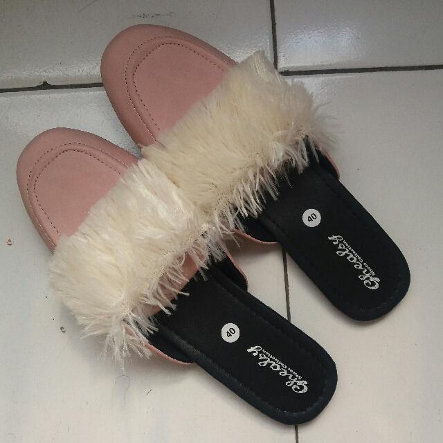 Pink Fur Mule Shoes
