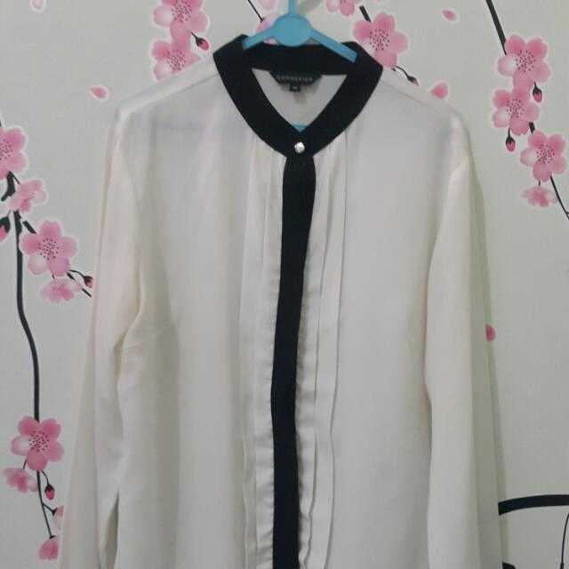 Preloved - Black Lined White Blouse