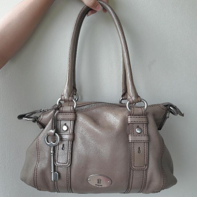 Preloved Fossil Maddox Satchel Taupe
