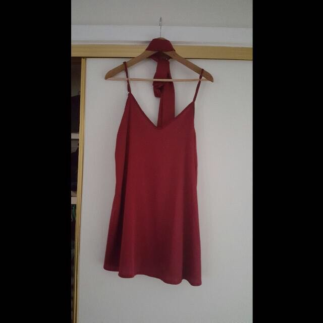 Red Slip Dress W/choker