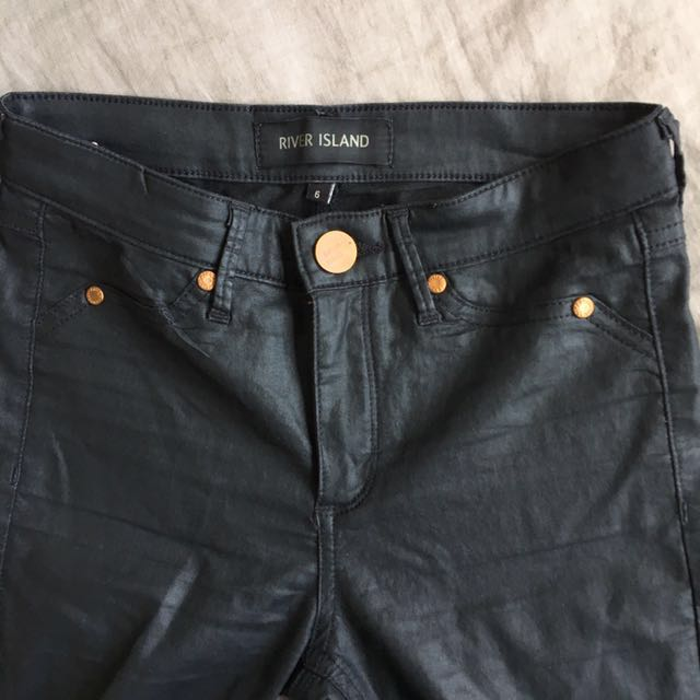 River Island leather look jeans pants