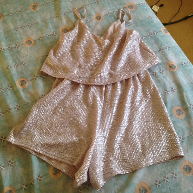 Rose gold shiny playsuit