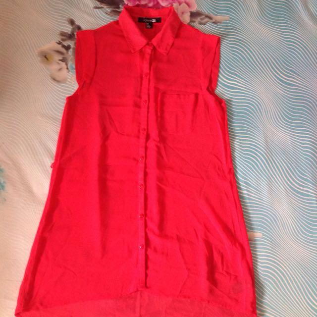 SALE! Red Long Shirt By Forever21