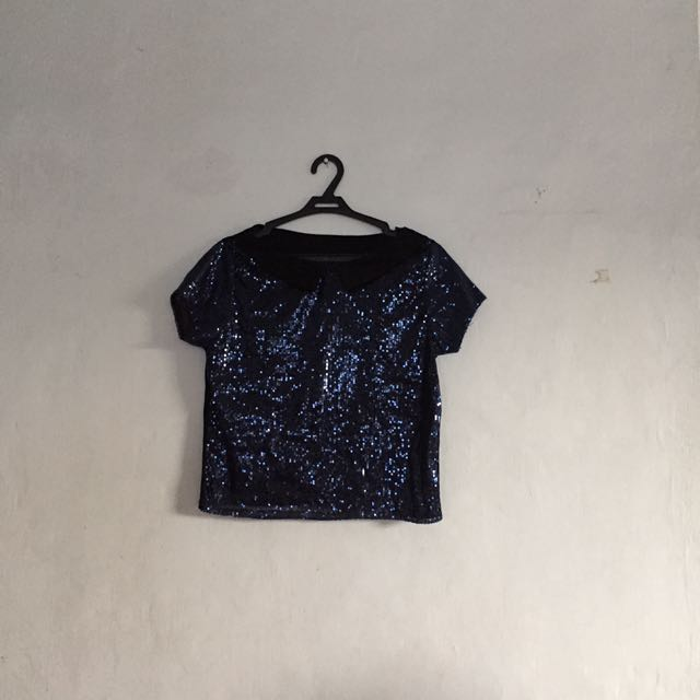 Sequined semi crop top
