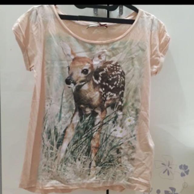 T shirt Deer Stradivarius