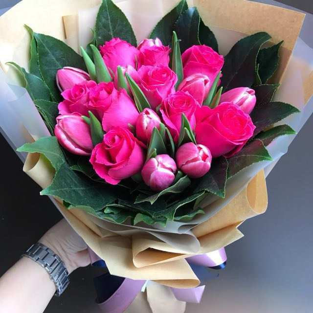 Tulips and shocking pink roses hand bouquet gardening on carousell mightylinksfo