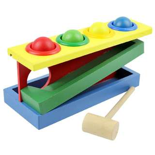 Wooden Toys Color Ball Striking Table Knock Table Baby Hand Game