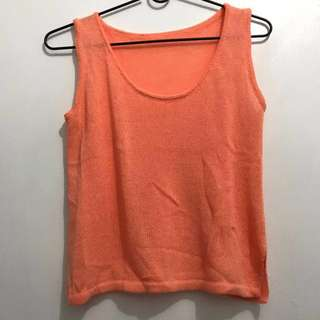 Orange knit top cover up