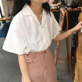 夏季翻領白色修身單排釦短袖襯衫