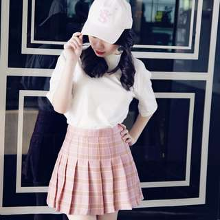 Pink Checker Pleated Skirt