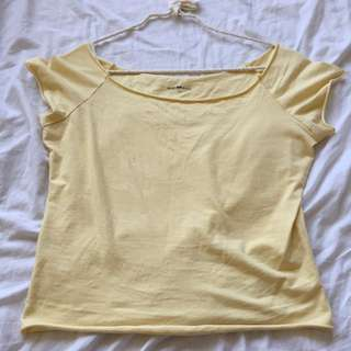 Brandy Melville Yellow Rin off the shoulder top