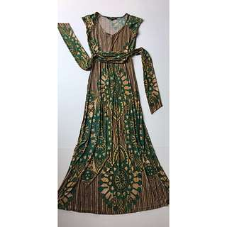 Charlie Brown green yellow arty pattern maxi dress size 6