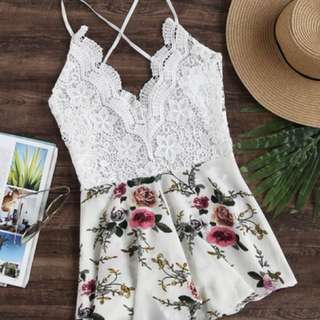 NEW Floral Lace Bodice Criss Cross Backless Romper