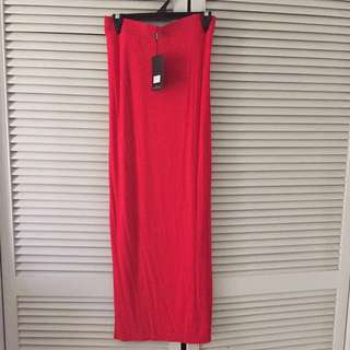 Plus Size Misguided Red Maxi Skirt