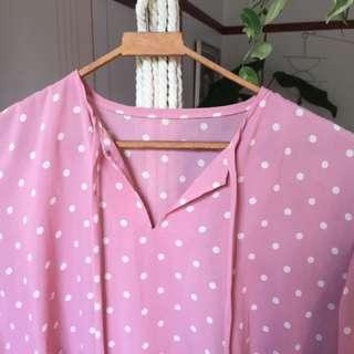 Pink polka dot vintage dress