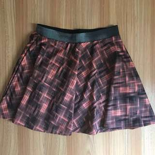 Checkered Orange Skirt