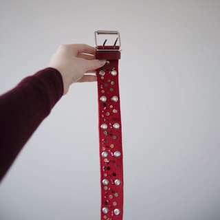 Bright red grommet/rivet belt!