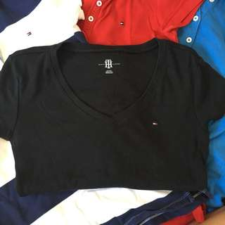 AUTHENTIC Tommy Hilfiger Extra Small V Neck Black T Shirt