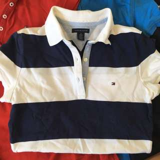 AUTHENTIC Tommy Hilfiger Extra Small Slim Fit Navy and White Polo