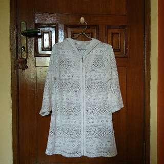 L.A. Beau-Je White Hoodie Zip Shirt Brocade