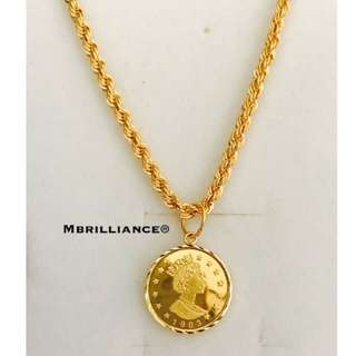 Queen Elizabeth Pendant & Rope chain necklace set , 916 Gold by mbrilliance