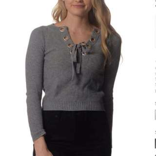 Brand New Grey Knit Eyelet Top