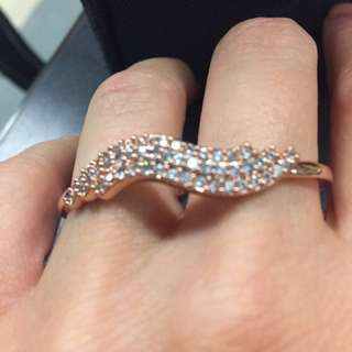 Rose gold plated double ring