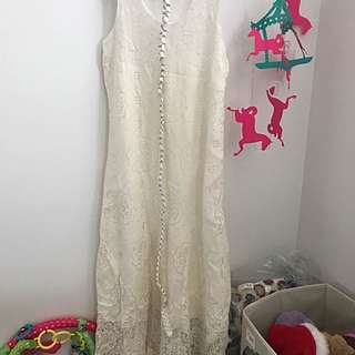Maxi dress white cotton lace dress size 8