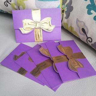 Envelope Packet ↪ Purple with Gold Foil Ribbon 🎀🎀 Stamping & Embossed 💱 $1.80 Each Packet - 5 Pieces