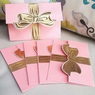 Envelope Packet ↪ Pink with Gold Foil Ribbon 🎀🎀 Stamping & Embossed 💱 $1.80 Each Packet - 5 Pieces