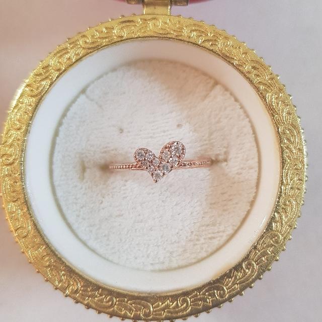 日本製-天然真鑽14分K10玫瑰金戒指 0.14CT 10K