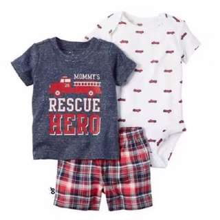 [CLEARANCE] carter recuse hero fire truck set, romper shirt pants short baby newborn size toddler children got boys and girls designs from my shop
