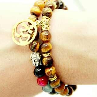 Charka Tiger Eye Beaded Men Yoga OM Buddha Bracelet Fashion Jewelry Retail